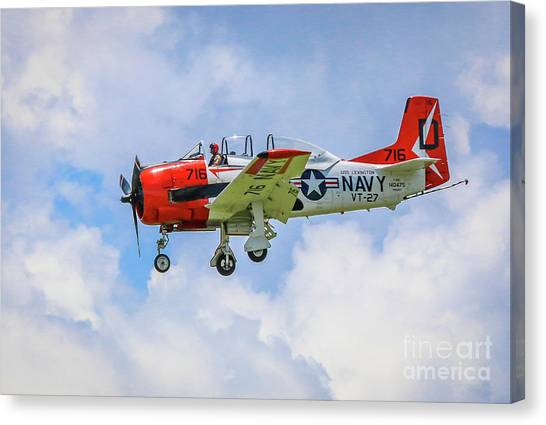 Canvas Print featuring the photograph Navy Trainer #2 by Tom Claud