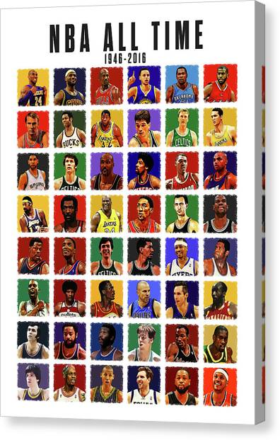 Larry Bird Canvas Print - Nba All Times by Semih Yurdabak