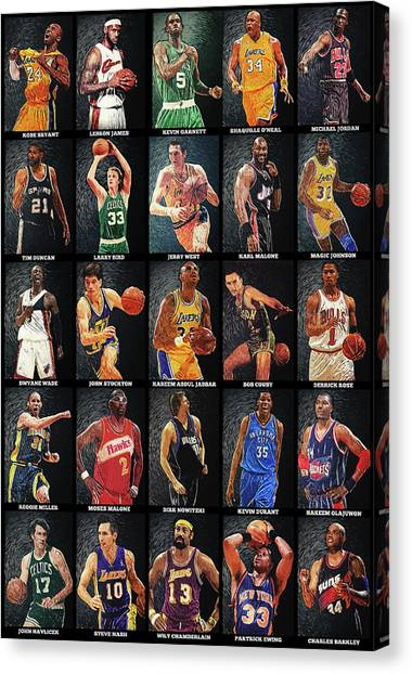 Western Conference Canvas Print - Nba Legends by Taylan Apukovska