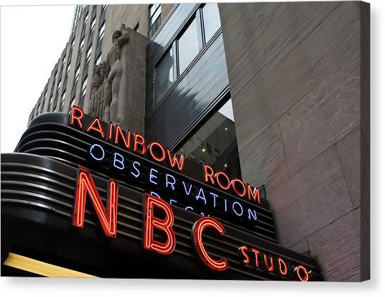 Canvas Print featuring the photograph Nbc Studio Rainbow Room Sign by Lorraine Devon Wilke