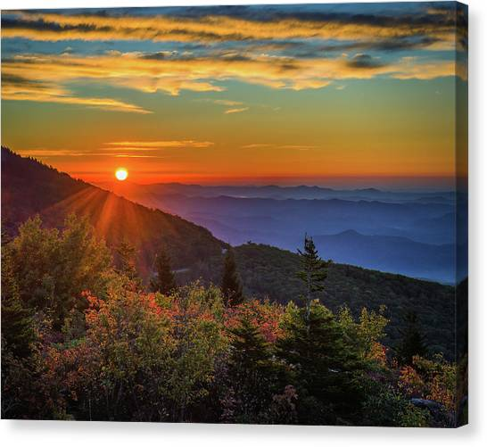 Nc Mountain Sunrise Blue Ridge Mountains Canvas Print