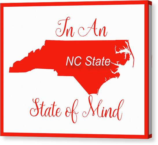 Wright State University Canvas Print - Nc State State Of Mind by Paulette B Wright