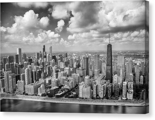 Hancock Building Canvas Print - Near North Side And Gold Coast Black And White by Adam Romanowicz