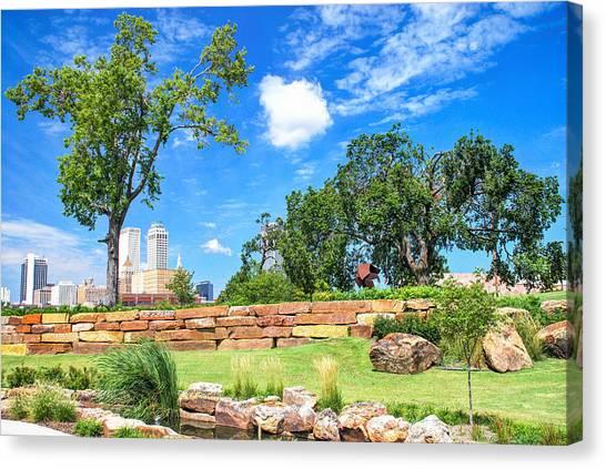 Centennial Canvas Print - Tulsa Skyline From Centennial Park Under Blue Skies by Gregory Ballos