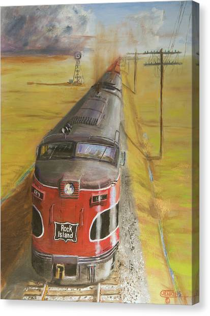 Freight Trains Canvas Print - Near Thistle  Ks by Christopher Jenkins