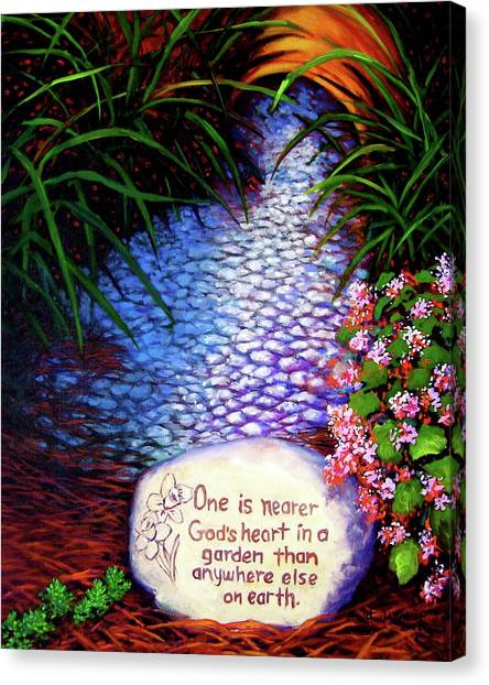 Canvas Print featuring the painting Garden Wisdom, Nearer by Jeanette Jarmon