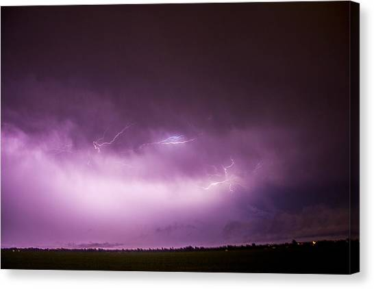 Canvas Print featuring the photograph Nebraska Night Thunderstorms 013 by NebraskaSC