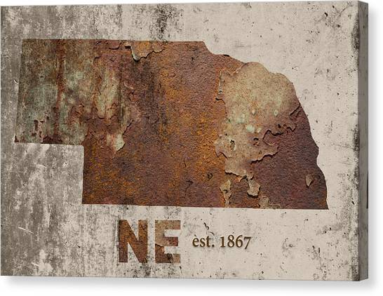 Nebraska Canvas Print - Nebraska State Map Industrial Rusted Metal On Cement Wall With Founding Date Series 039 by Design Turnpike
