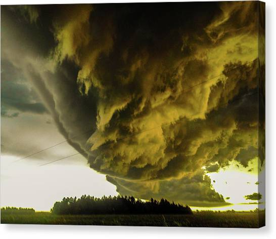 Canvas Print featuring the photograph Nebraska Supercell, Arcus, Shelf Cloud, Remastered 018 by NebraskaSC