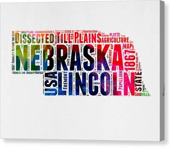 America Map Canvas Print - Nebraska Watercolor Word Cloud  by Naxart Studio