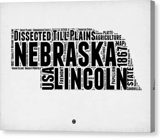 America Map Canvas Print - Nebraska Word Cloud 2 by Naxart Studio