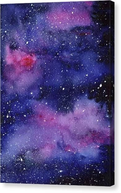 Constellations Canvas Print - Nebula Watercolor Galaxy by Olga Shvartsur
