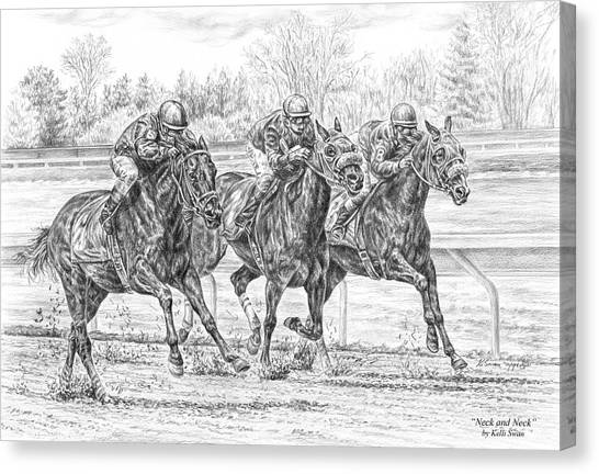 Neck And Neck - Horse Racing Art Print Canvas Print