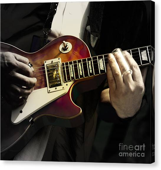 Slide Guitars Canvas Print - Necking The Blues by Steven Digman