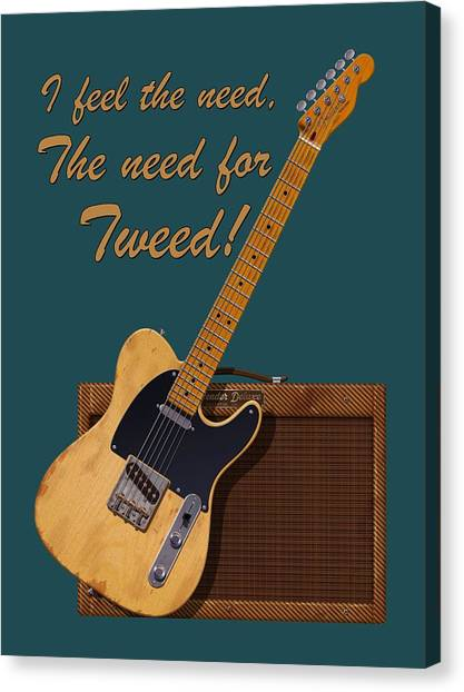 Electric Guitars Canvas Print - Need For Tweed Tele T Shirt by WB Johnston