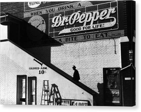 Dr. Pepper Canvas Print - Negro Going In Colored Entrance by Everett