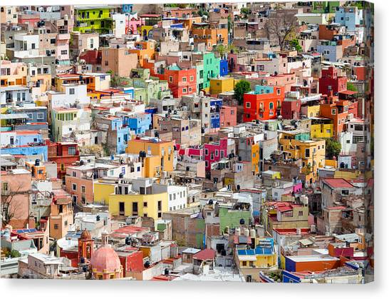 Canvas Print featuring the photograph Neighbourhood. Guanajuato Mexico. by Rob Huntley