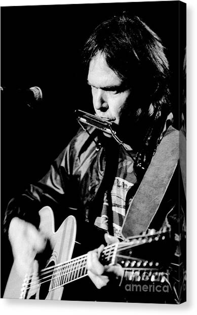 Chris Walter Canvas Print - Neil Young 1986 #2 by Chris Walter