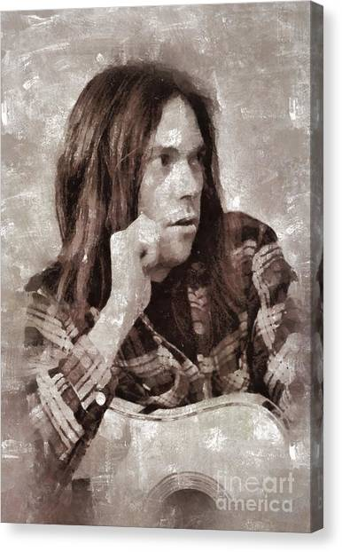 Neil Young Canvas Print - Neil Young By Mary Bassett by Mary Bassett