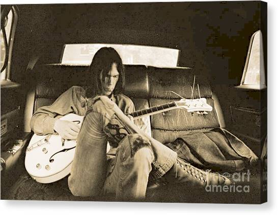 Neil Young Canvas Print - Neil Young In The Backseat by John Malone