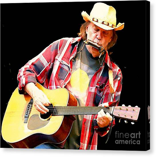 Neil Young Canvas Print - Neil Young by John Malone