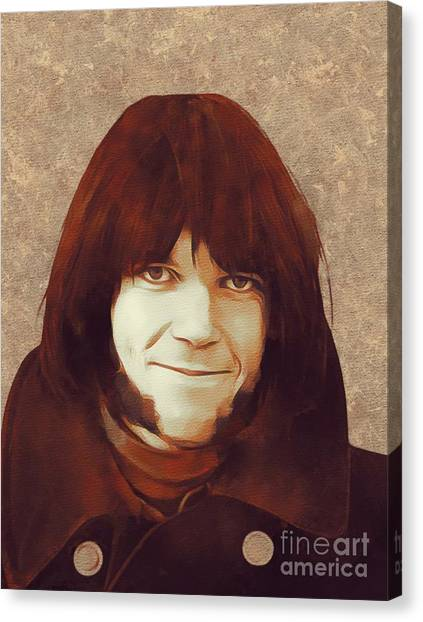 Neil Young Canvas Print - Neil Young, Music Legend by Mary Bassett