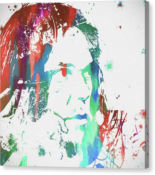 Neil Young Canvas Print - Neil Young Paint Splatter by Dan Sproul