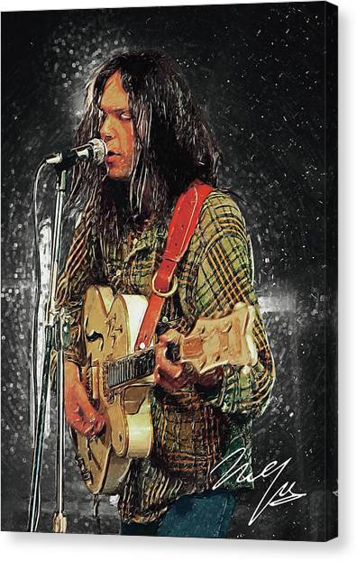 Pearl Jam Canvas Print - Neil Young by Zapista