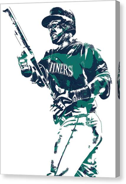 Seattle Mariners Canvas Print - Nelson Cruz Seattle Mariners Pixel Art 5 by Joe Hamilton