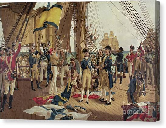 Royal Marines Canvas Print - Nelson's Last Signal At Trafalgar  by Thomas Davidson