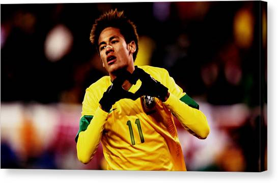 Neymar Jr Canvas Print - Nemar Scores Again by Brian Reaves