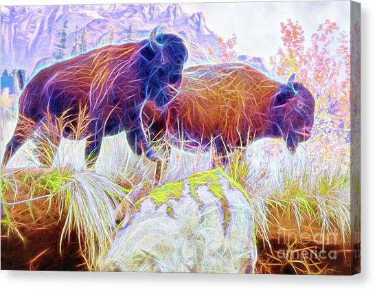 Canvas Print featuring the digital art Neon Bison Pair by Ray Shiu