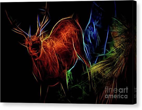 Canvas Print featuring the digital art Neon Buck by Ray Shiu