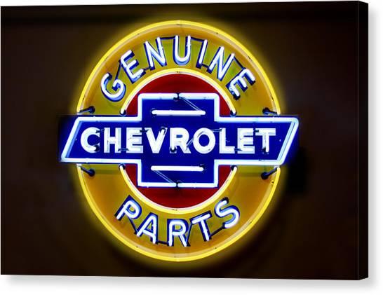 Neon Genuine Chevrolet Parts Sign Canvas Print