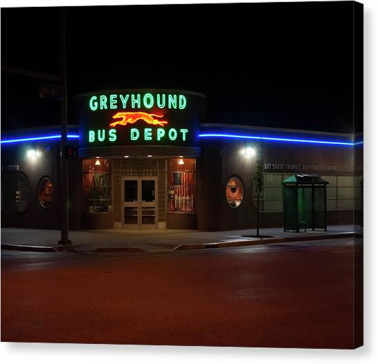 Canvas Print featuring the photograph Neon Greyhound Bus Depot Sign by Chris Flees
