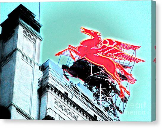 Pegasus Canvas Print - Neon Pegasus Atop Magnolia Building In Dallas Texas by Shawn O'Brien