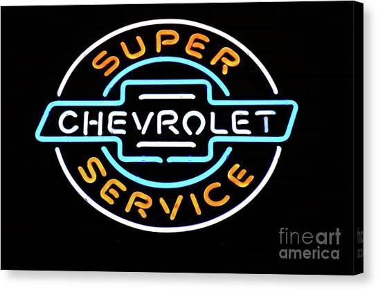 Stock Cars Canvas Print - Neon Sign Chevrolet by Bob Christopher