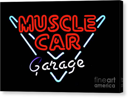 Stock Cars Canvas Print - Neon Sign Muscle Car Garage by Bob Christopher