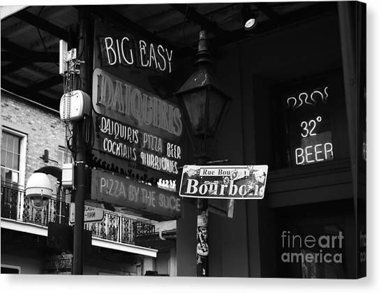 Neon Sign On Bourbon Street Corner French Quarter New Orleans Black And White Canvas Print