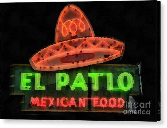 Canvas Print featuring the painting Neon Sign Series Mexican Food Austin Texas by Edward Fielding