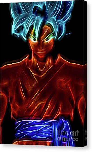 Canvas Print featuring the digital art Neon Ss God Goku by Ray Shiu