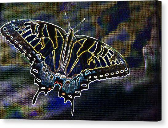 Neon Swallowtail Butterfly Canvas Print