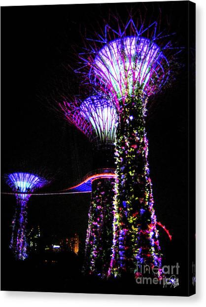 Lightshow Canvas Print - Neon Treescape by Alina Davis