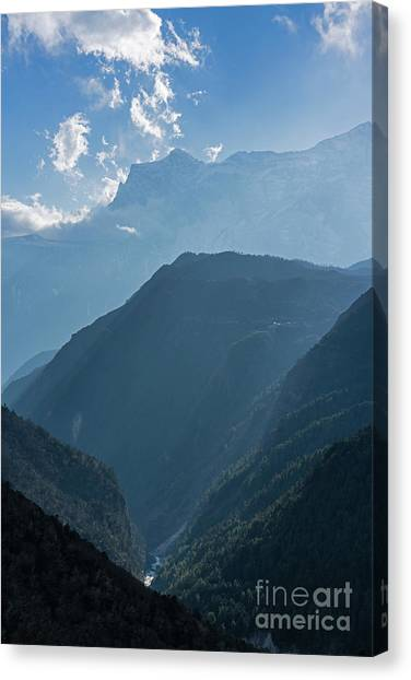 K2 Canvas Print - Nepal Road To Namche Sunray Layers by Mike Reid