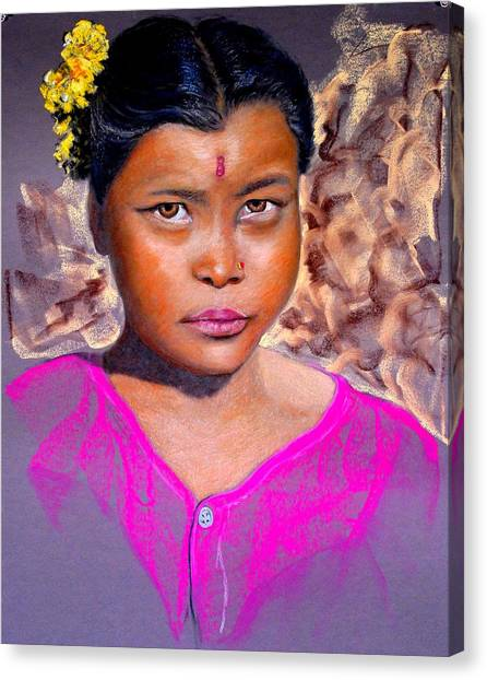 Nepalese Girl Canvas Print by David  Horning