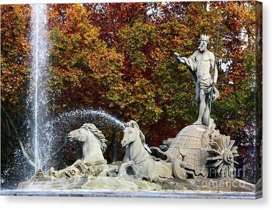 Prado Canvas Print - Neptune Fountain Paseo Del Prado Madrid by James Brunker