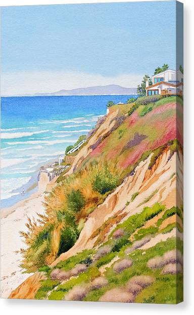 Pacific Coast Canvas Print - Neptune's View Leucadia California by Mary Helmreich