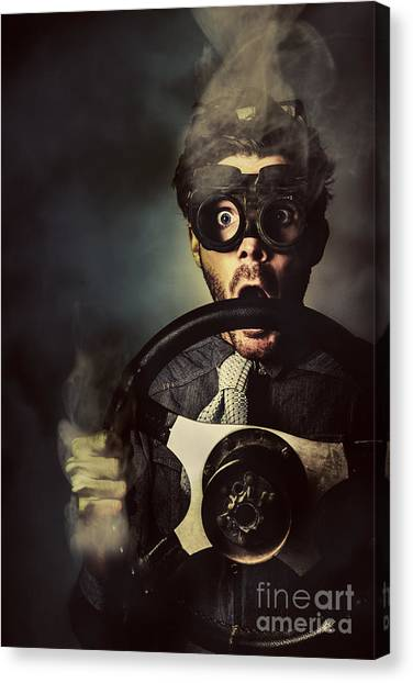 Racecar Drivers Canvas Print - Nerd Business Man In A Fast Race Competition by Jorgo Photography - Wall Art Gallery