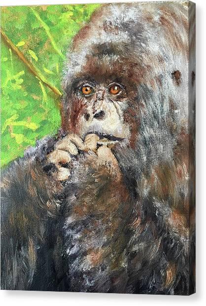 Nervous Mama Gorilla Canvas Print