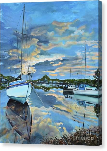 Nestled In For The Night At Mylor Bridge - Cornwall Uk - Sailboat  Canvas Print